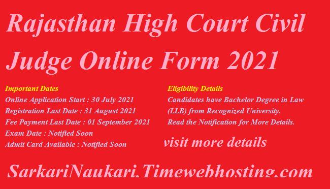 Rajasthan High Court Civil Judge Online Form 2021