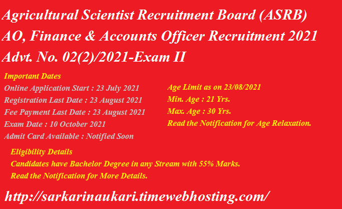 ASRB Administrative Officer AO, Finance & Accounts Officer Online Form 2021